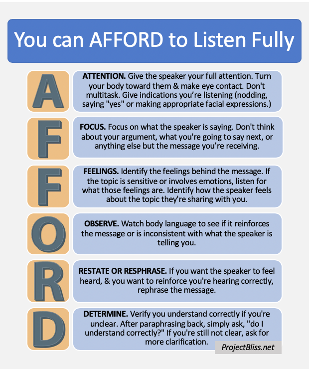 You can AFFORD to Listen Fully